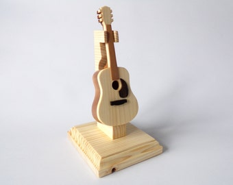 Miniature Acoustic Guitar Wooden Ornament With Wooden Stand