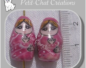 2 Russian dolls beads 20 mm * 47 ceramic pink BABUSHKA MATRYOSHKA
