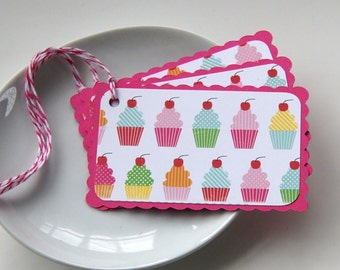 Birthday Cupcakes Tags or Package Labels (Qty. 6)