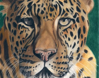 Leopard Art Print, Wildlife Decor, Exotic Animal Art - Fine Art Giclee Print of an Original Pawstel