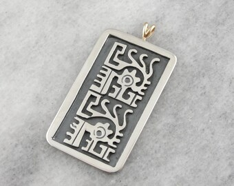 Nahuatl Aztec Alphabet Pendant in Sterling Silver, Golden Accent RWUWDK-N