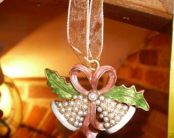 Danish Christmas Bells tree decoration on Organza Ribbon.Ornaments