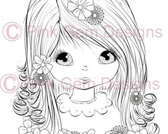 Digital Digi Stamp 'Angelica'. Cute Girl. Girl Birthdays. Card Making. Paper Craft. Digital Scrapbooking. Invitations