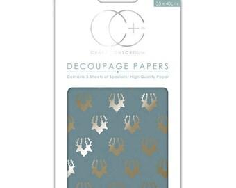 Paper patch (3 sheets) - metal effect - CCDECP0112 deer heads