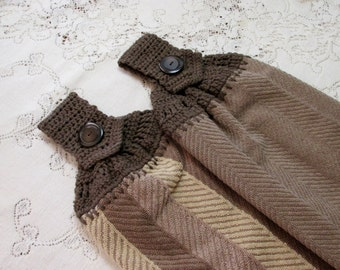 Brown & Tan Taupe with Chevrons - Set of 2 Double Layer - Dk Brown Taupe Crochet Top Kitchen Hand Towels - Best Quality - Hannahs Homestead2