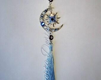 Moon and sun celestial evil eye ornament