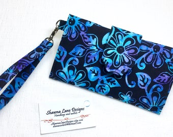 women's wallet, blue purple black floral batik, organizer wallet, checkbook, cell phone accessory, wristlet, ready to ship affordable gift