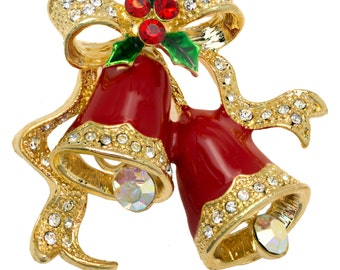 Christmas Bells Pin Brooch with Swarovski Element Crystals