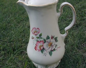 Wild Briar Rose Vintage Pitcher The House of Wester Ceramics Victorian Old English