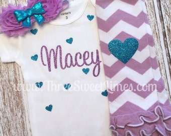 Personalized Girl Outfit | Purple Teal Toddler Shirt | Opt Leg Warmer Headband Set | New Baby Shower Gift | Purple Teal Glitter | Blue Heart