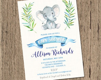 Baby shower invitation boy Elephant baby shower invitation, baby elephant shower invite, little peanut baby shower, watercolors, Printable