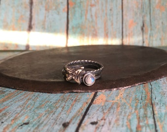 love & endurance. moonstone and succulent stacking ring set