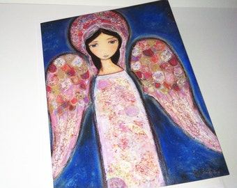 Angel en Rosa - Greeting Card 5 x 7 inches - Folk Art By FLOR LARIOS