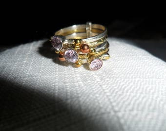 Vintage Kunzite Stacked Rings Size 6.5