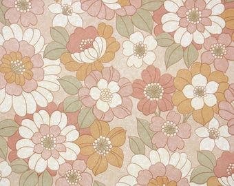 Retro Vintage Wallpaper by the Yard 70s Floral Vintage Wallpaper - Retro 1970s Floral Vintage Wallpaper Pink Orange and Cream Flowers