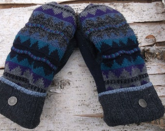 Sweater Mittens fleece lined, gray, teal and purple mittens, fleece lined, made from upcyled sweaters
