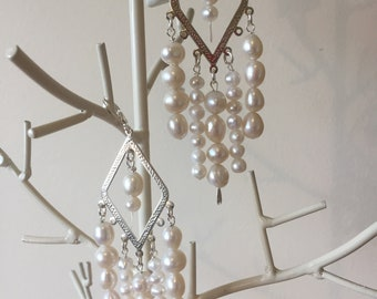 White Freshwater Pearls - Chandelier Earrings