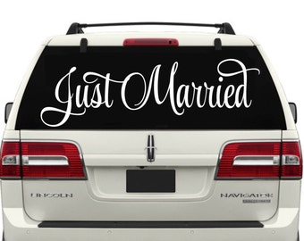 Just Married Car Window Decal -Wedding Decor-Just Married Decals-Just Married Car Decals-Just Married Car Window Decals-Just Married Sticker