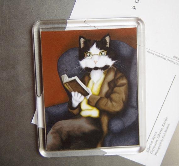 Reading Cat Magnet, Dressed Tuxedo Cat Reading a Book, Fridge Magnet