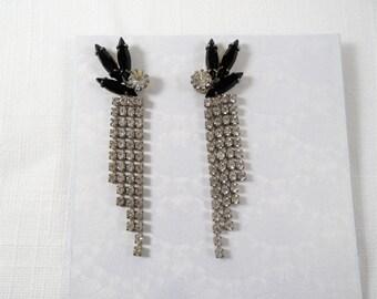 Vintage Black & Clear Rhinestones Pierced 1970s Earrings