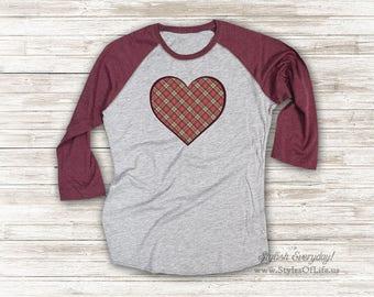 Kariertes Herz Jersey, Damen Shirt, süße T Shirt, Raglan T-Shirt, Burgandy Shirt, Womens Plaid Jersey