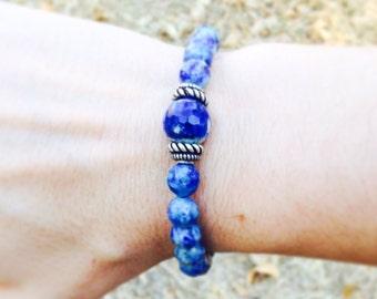 Sodalite bracelet. Blue stone. Healing bracelet.