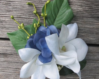 Hawaiian - Tropical  White Orchids and blue hydrangea  hair clip -  weddings -