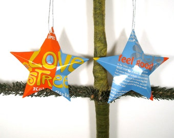Recycled Karbach Brewing Company Love Street Beer Can Stars - Set of 2 Texas Craft Beer Christmas Ornaments