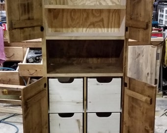 Wood Cabinet,Microwave cabinet,Kitchen Cabinet with Drawers, Hutch with Storage,Slide out Drawers Cabinet,Custom Built Cabinet,GraydonCreek