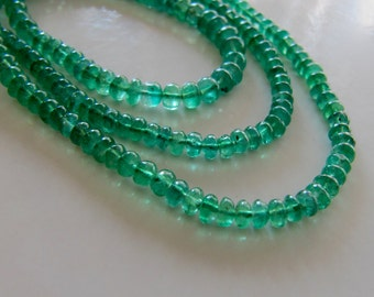 Emerald rondelles smooth plain 3-4mm, AAA zambian natural genuine emerald green, gemstone oval beads