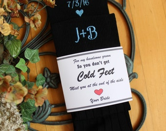 Wedding Socks, Grooms socks, black, So you Don't Get Cold feet. Meet you at the end of the Aisle. Personalized Socks. groom gift, F21LB2