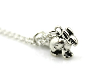 BUNNY RABBIT Initial NECKLACE in Sterling Silver - Personalized Rabbit *