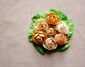 Yellow peach cream green miniature rose corsage handmade millinery bouquet embellishment
