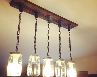 cottage mason jar chandelier. Rustic, Industrial, Farmhouse Style, Modern,Jar Chandelier Light, 4/5 Cottage Mason Jar B