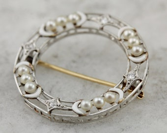 Antique Edwardian: Fine Diamond and Pearl Circle Pin  Y57807-R