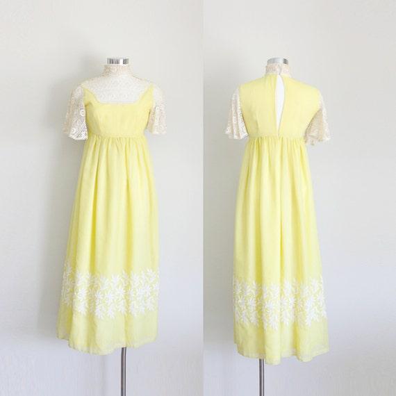 1960s Crochet Maxi Dress 60s Prom Dress Yellow Mod Maxi