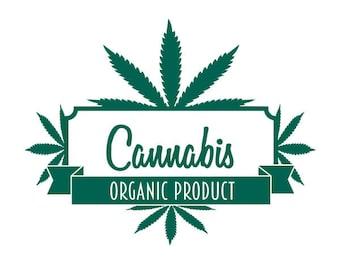 Organic Cannabis vinyl decal sticker for window jar bag stash weed bud dabs