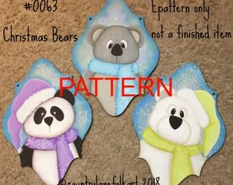 Christmas bears ornament painting epattern, Christmas pattern, tole painting, ornament pattern, painting patterns,
