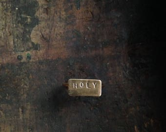 Holy // Brass Stamped Word Ring // Size 5.5