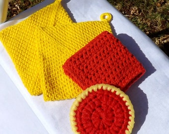 Kitchen Gift Set, Two Yellow Double Thick Potholders, One Crocheted Red Cotton Dishcloth, One Double Sided Nylon Scrubby, Housewarming Gift