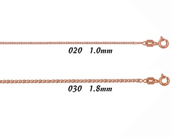 "Womens 14K Real Solid Rose Gold Light Open Wheat Chain Necklace 1.0mm ~ 1.8mm 16"" 18"" 20"""