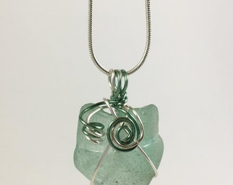 Green Sea Glass Wire Wrapped Pendant