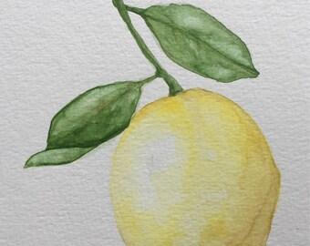 Watercolor Lemon-Food Art-Original Lemon Painting