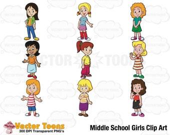 Middle School Girls Clip Art, Digital Clipart, Digital Graphics