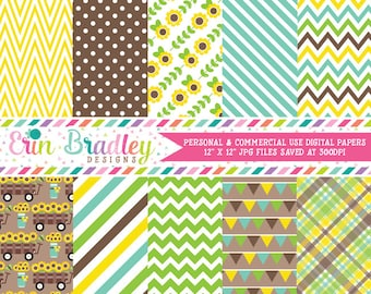 Sunflowers Digital Paper Pack Blue Green and Yellow Chevron Stripes Bunting Plaid and Sunflower Patterns