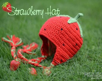 Strawberry Crochet Hat, Newborn Hat and Photo Prop