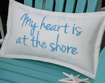 """Outdoor pillow My Heart Is at the Shore sky blue lettering on white 12""""x20"""" handpainted coastal tides Crabby Chris Original"""