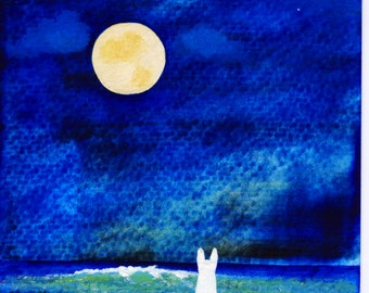 White German Shepherd Dog Seascape Beach Lake Full Moon Stars original art painting by Todd Young