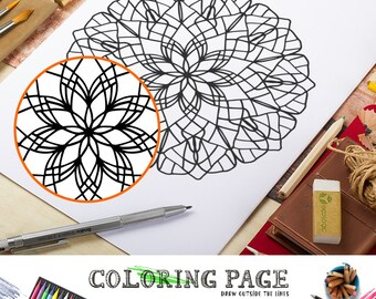 Printable Adult Coloring Page Doodle Mandala Coloring Page Printable Adult Coloring Book AntiStress Coloring Art Therapy Coloring Mandala