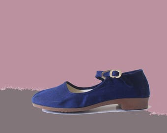 70's Deadstock Navy Blue Cotton Asian Mary Jane Flats